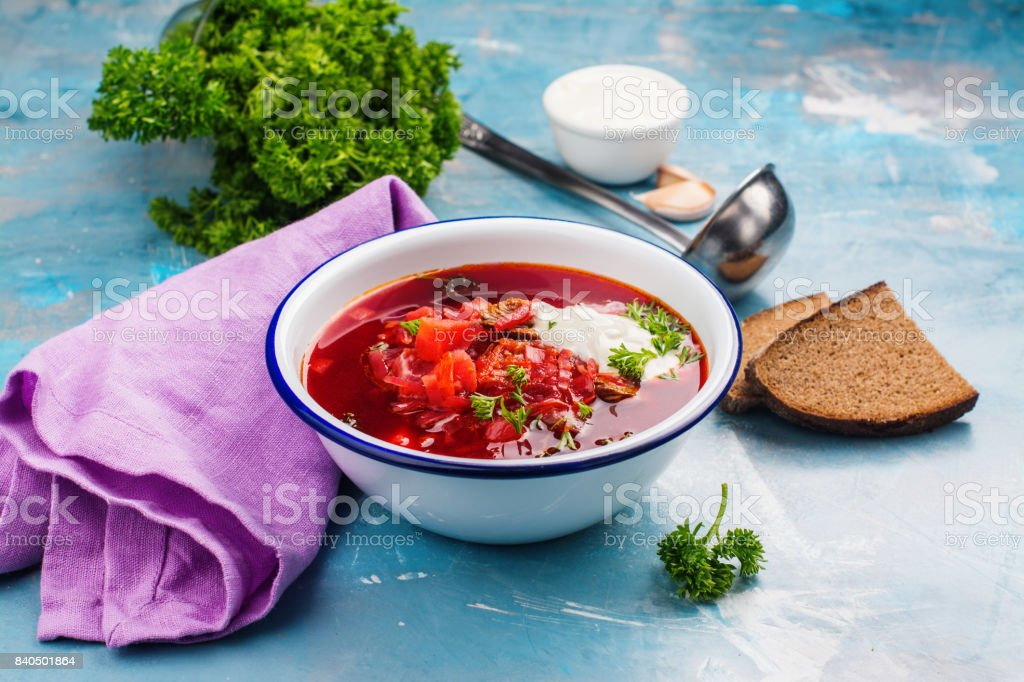 Traditional Ukrainian beetroot soup borscht stock photo