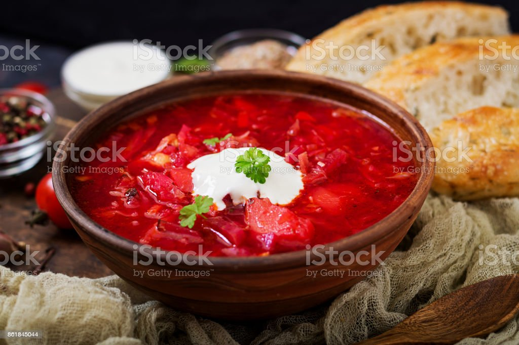 Traditional Ukrainian Russian borscht with white beans on the  bowl. stock photo