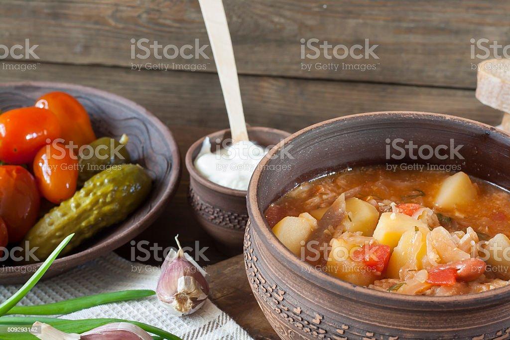 Traditional Ukrainian vegetable soup - Borsch royalty-free stock photo
