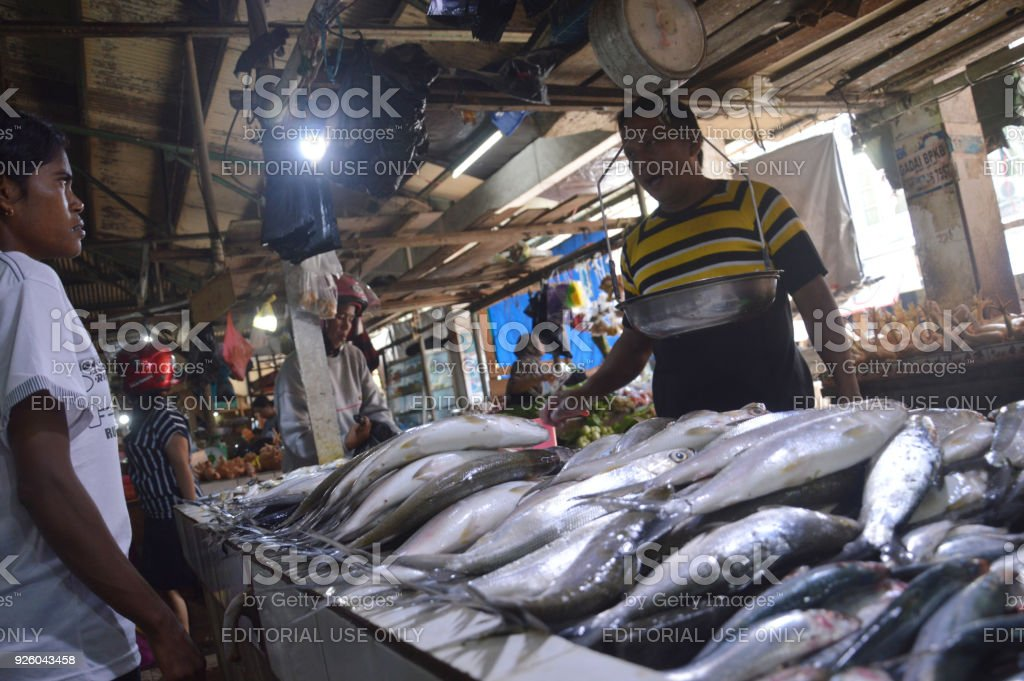 Traditional Vegetable And Fish Market Stock Photo - Download