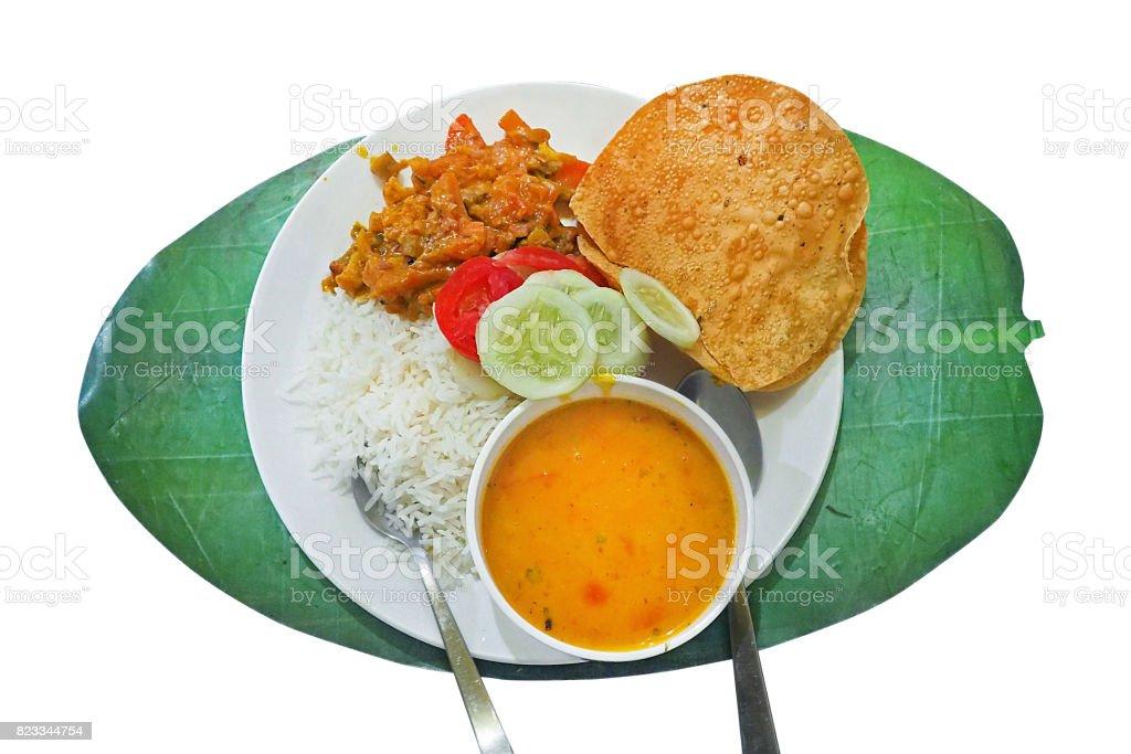 Traditionelle Vegetarische Indische Küche Serviert Auf Weißen Teller ...