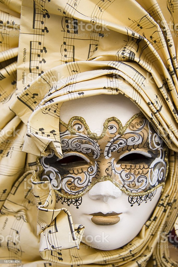Traditional Venetian carnival mask with a musical theme stock photo