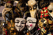 Venice, Italy. January 10th, 2019. Traditional venetian carnival masks exposed on a stand in Venice