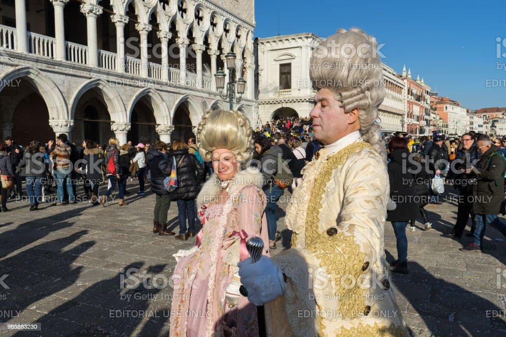 Traditionele Venetiaanse maskers tijdens carnaval, Venetië - Royalty-free Carnaval - Feestelijk evenement Stockfoto