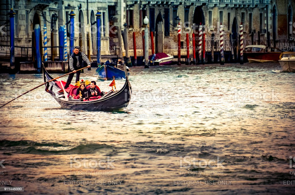 Traditional Venice gandola ride, Instagram style stock photo