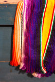 Traditional Vibrant Mexican Striped Wool Blanket