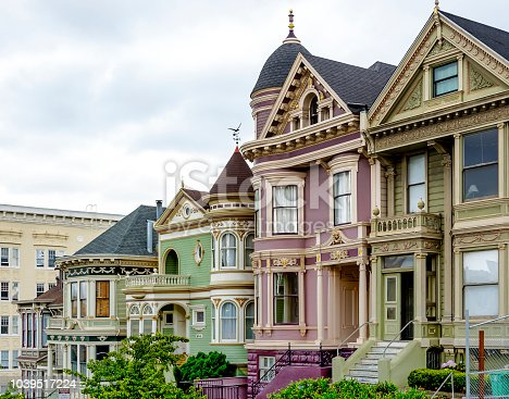 Row of colorful traditional victorian houses in San Francisco