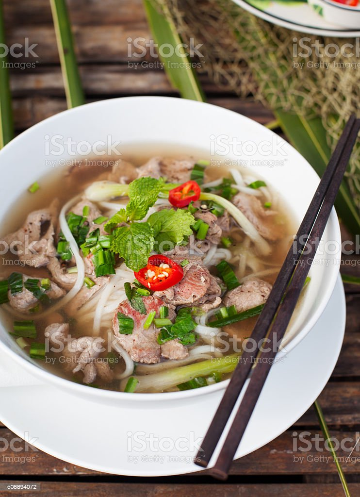 Traditional Vietnamese beef soup pho stock photo