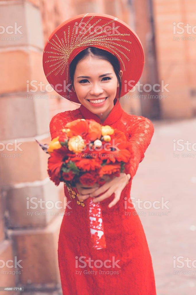 Traditional Vietnamese bride stock photo