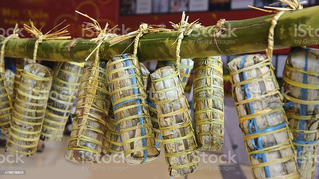 traditional Vietnamese food - banh tet ( cylindric glutinous ri stock photo