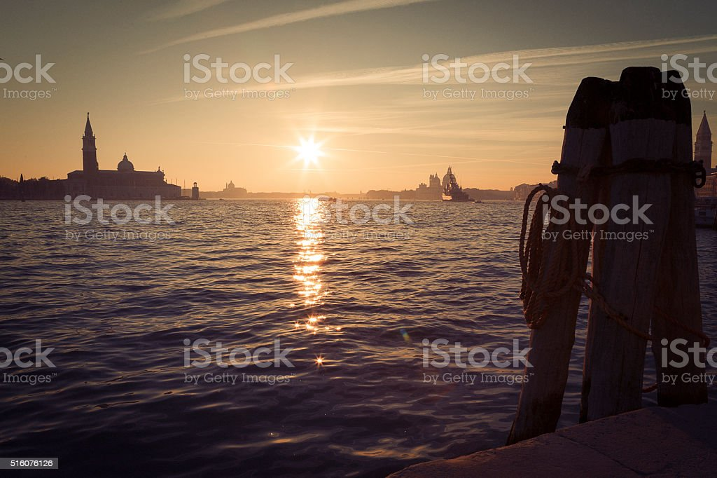 Traditional view of Venice at sunset stock photo