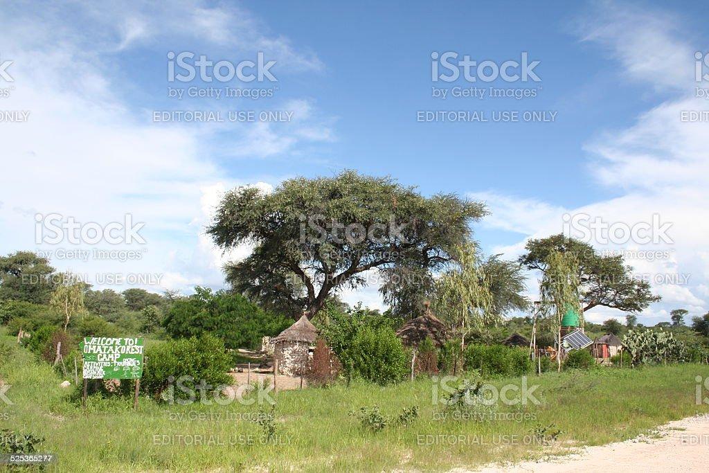 Traditional Village between Grootfontein and Rundu, Namibia, Africa, Rainy Season stock photo