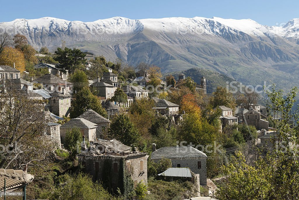 Traditional village in Greece stock photo