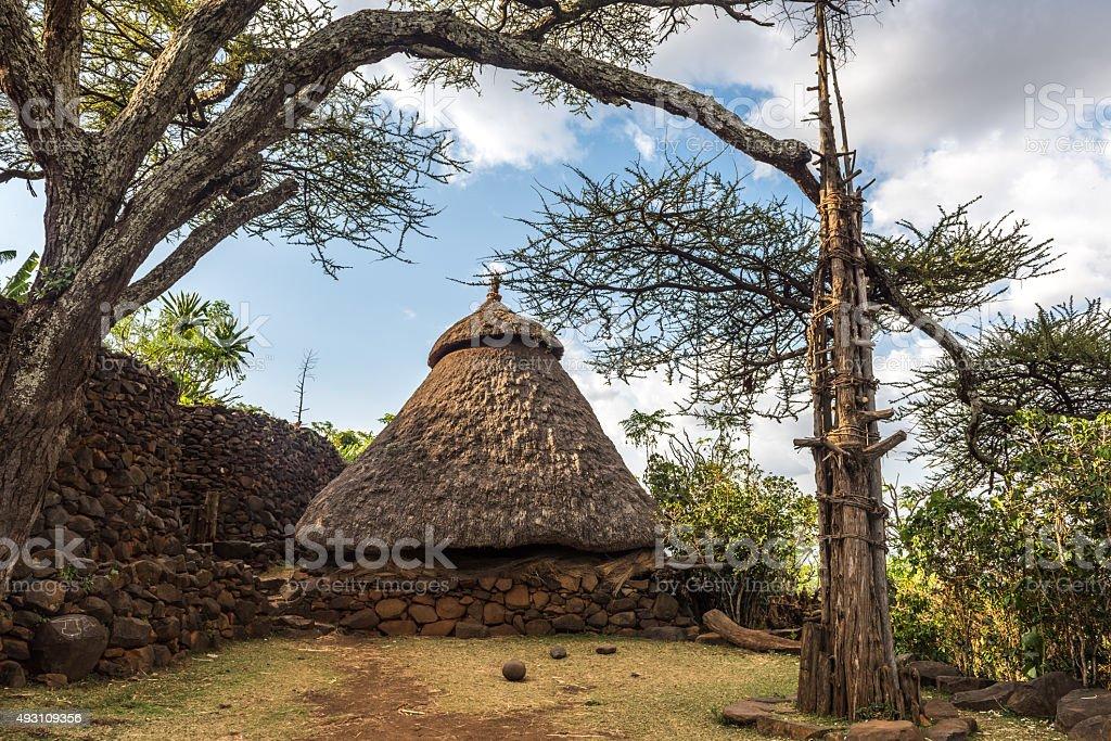 Traditional village in Konso, Ethiopia stock photo