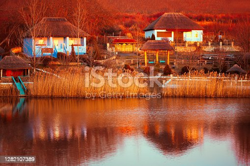 Traditional village in Maramures Romania . Village with views of lake and houses and old style