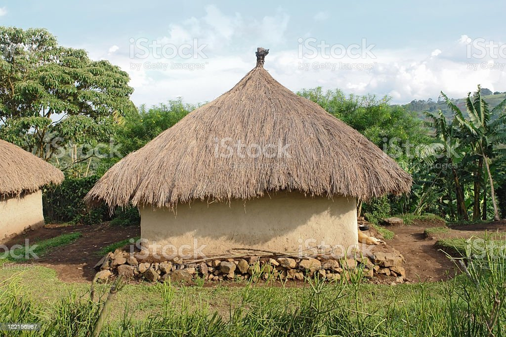 traditional village near Rwenzori Mountains royalty-free stock photo