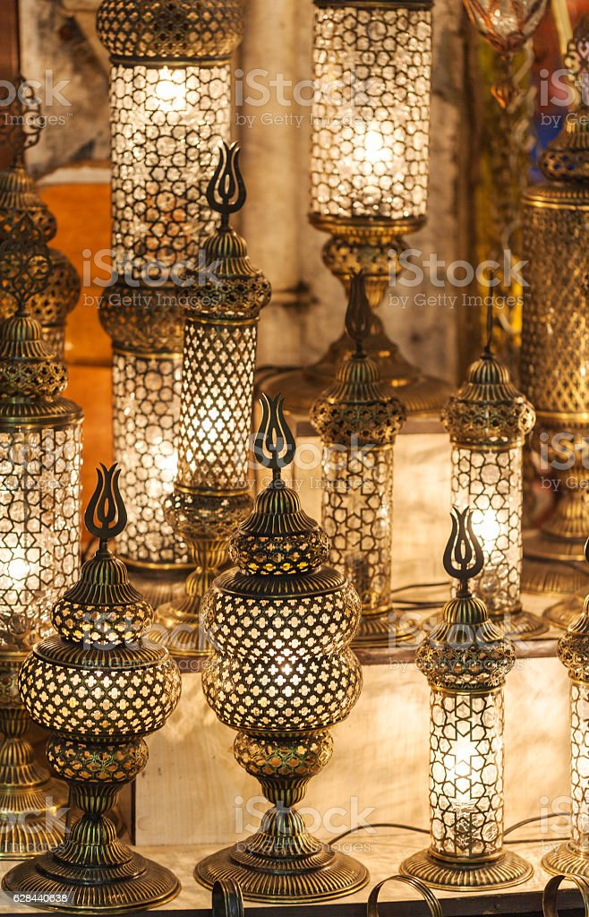 Traditional Vintage Turkish Lamps In The Grand Bazaar In Istanbul