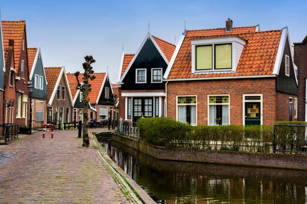 Traditional Volendam houses stock photo