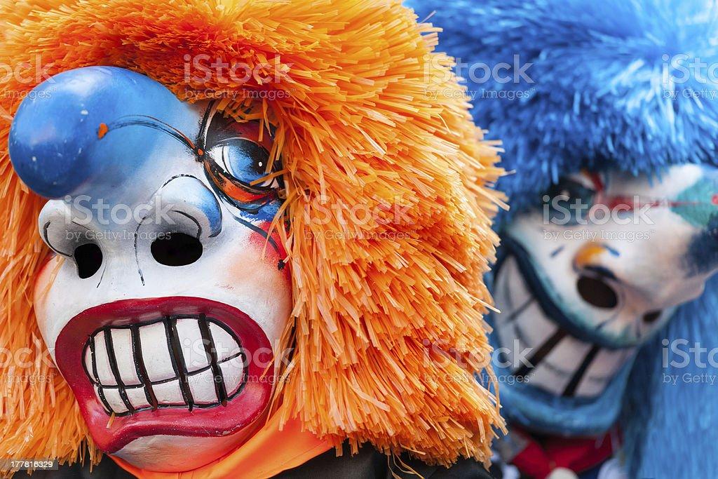 Traditional Waggis Masks At Fasnacht Festival Basel, Switzerland stock photo