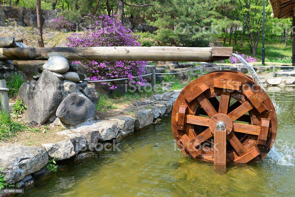 Traditional Water Wheel, Seoul, Korea stock photo