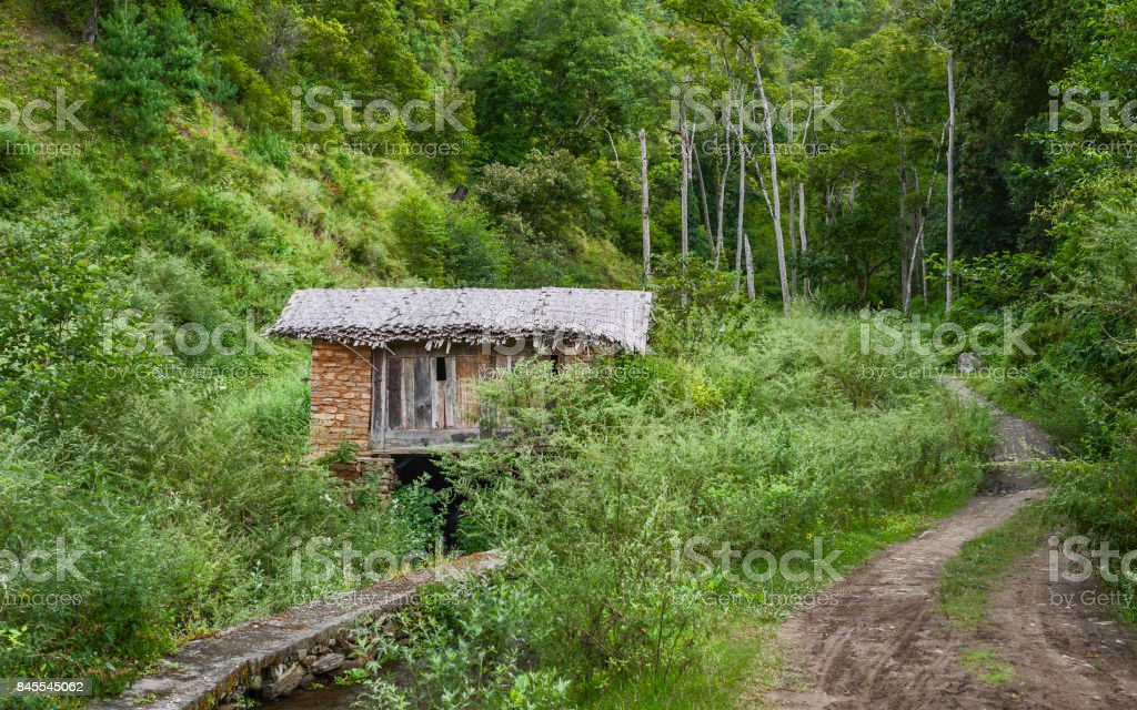 Traditional water-powered mill in forest, Arunachal Pradesh, India. stock photo