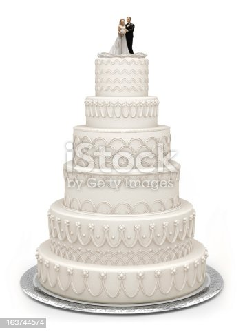 Traditional six layer wedding cake isolated on white with a clipping path