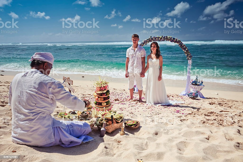 Traditional wedding in Bali stock photo