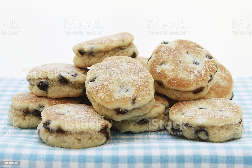 Traditional welsh cakes plated on table stock photo