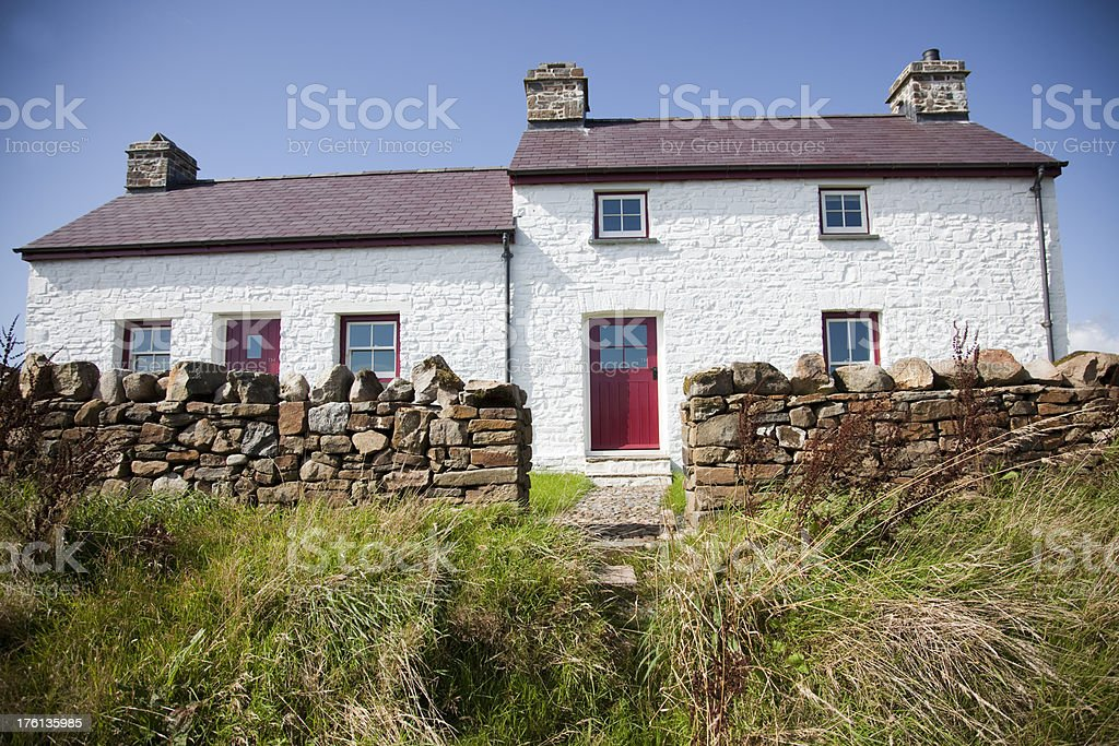 traditional Welsh cottage stock photo