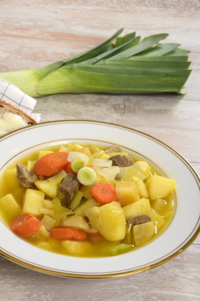Traditional Welsh Soup or Cawl Made with Root Vegetables and Meat stock photo