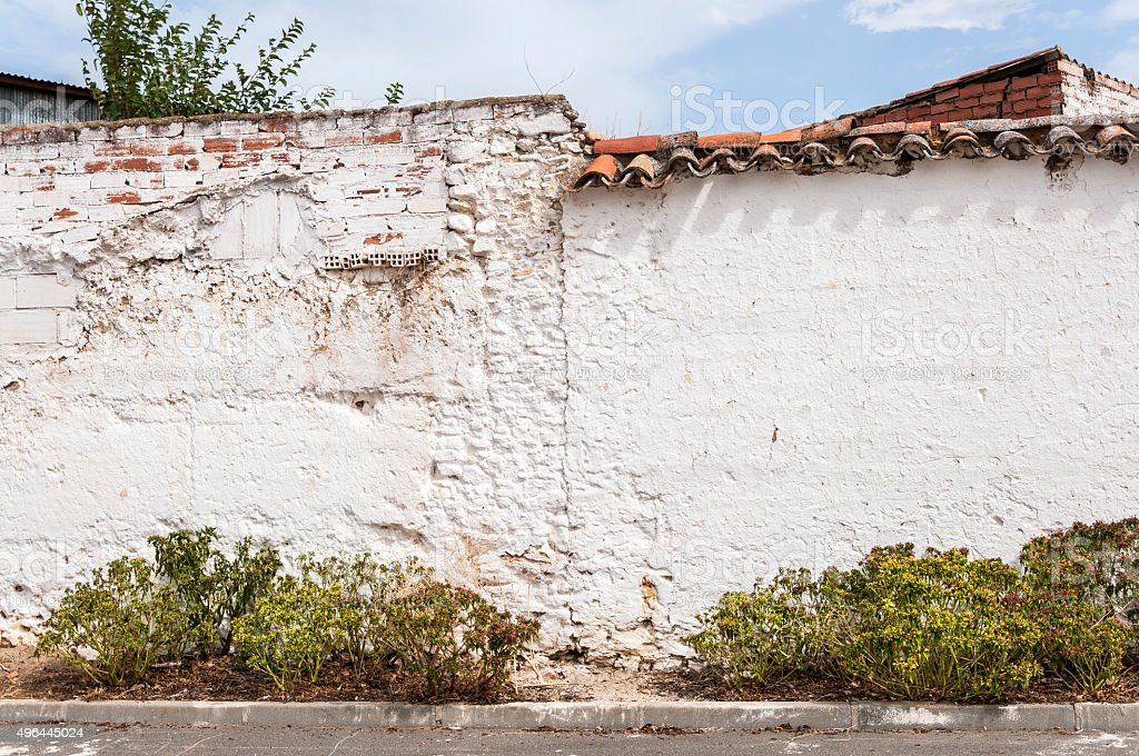 Traditional whitewashed walls in a town of La Mancha stock photo