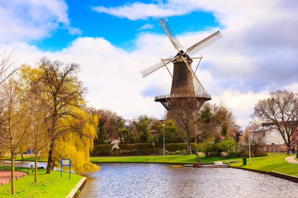 Traditional windmill in Leiden, Netherlands stock photo