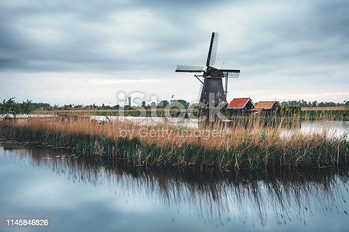Kinderdijk windmill on a cold spring morning.