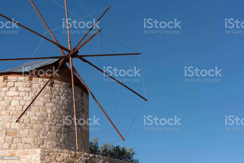 Traditional windmill on the Greek Island of Chios royalty-free stock photo
