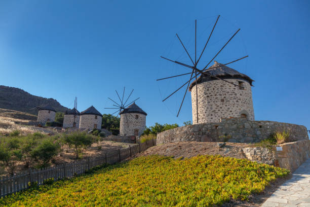 Traditional windmills at Kontias village Lemnos island - Aegean - Greece stock photo
