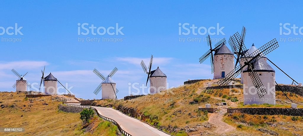 traditional windmills, Consuegra spain stock photo