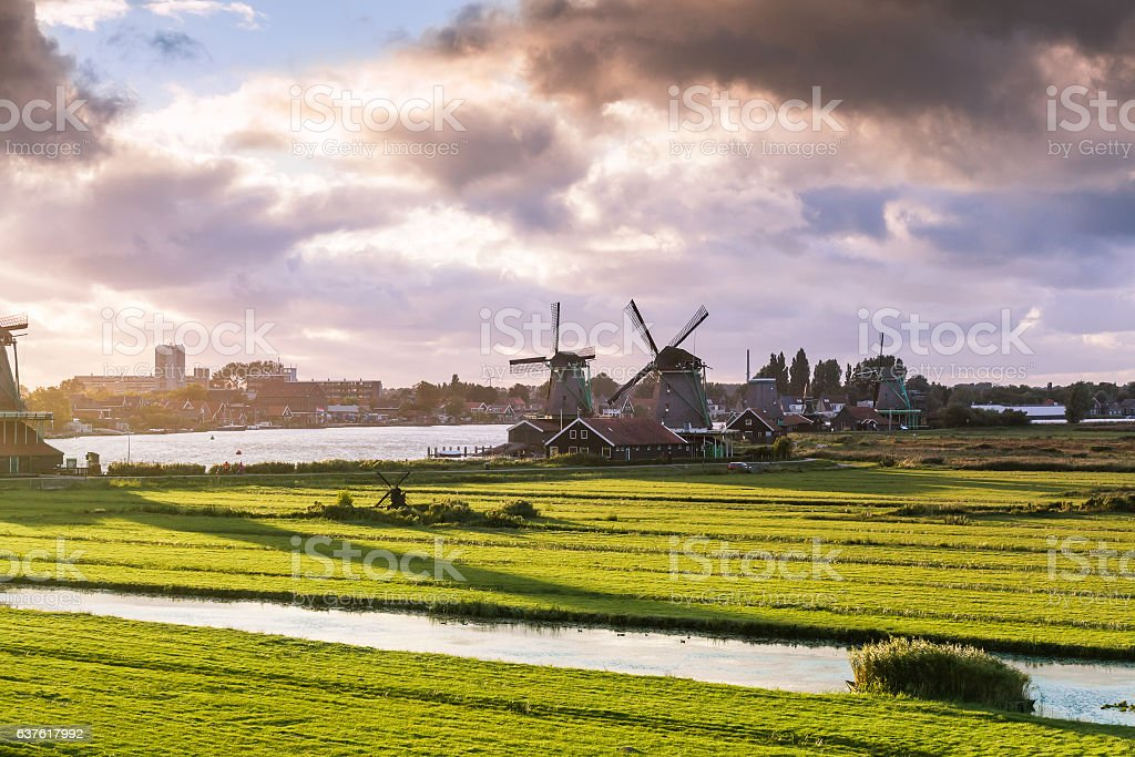 Traditional Windmills in cloudly day stock photo
