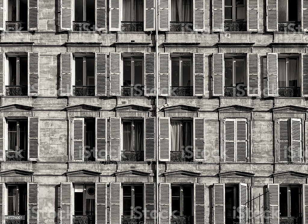 Traditional Windows Facade in Paris. Black and White stock photo