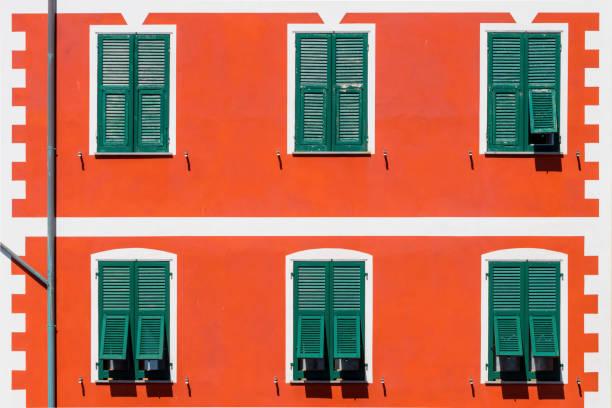 Traditional windows of Italian house of Manarola, Cinque Terre National Park, Italy