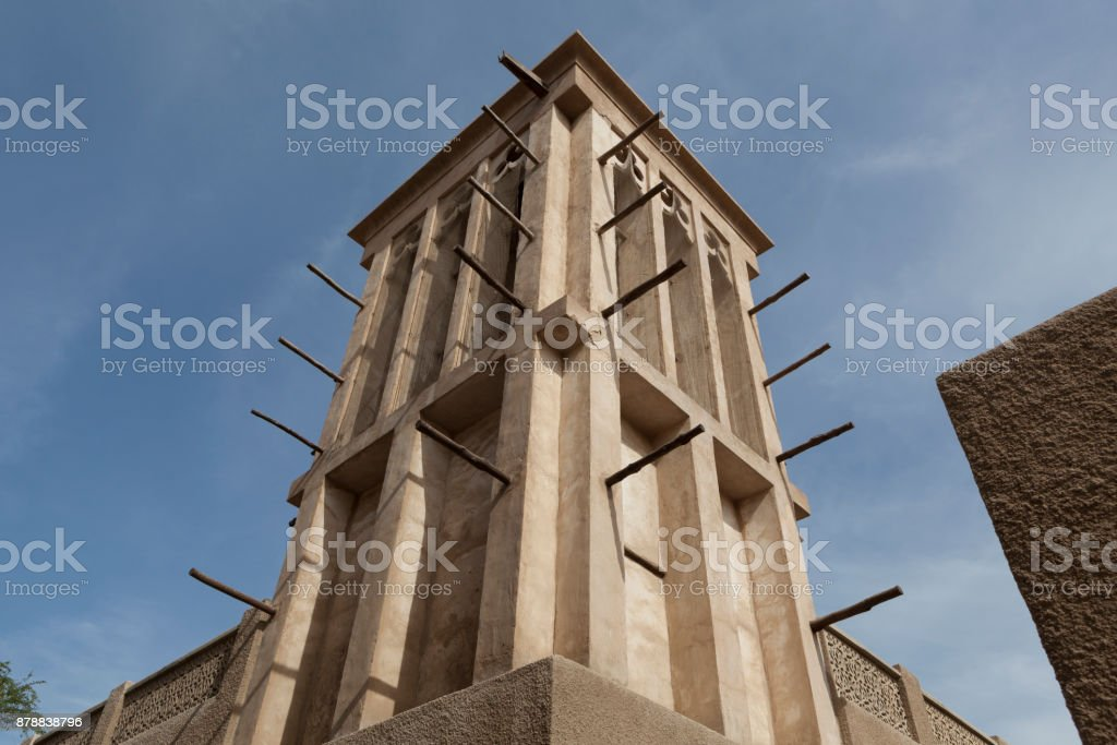 A traditional windtower in the Al Fahidi Historical Neighbourhood, Dubai stock photo