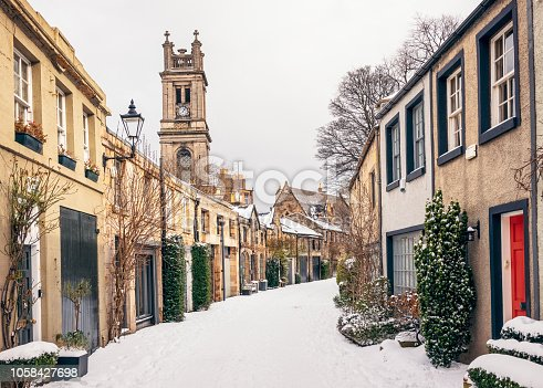 Snow covering Circus Lane, a narrow side street in Stockbridge, Edinburgh.
