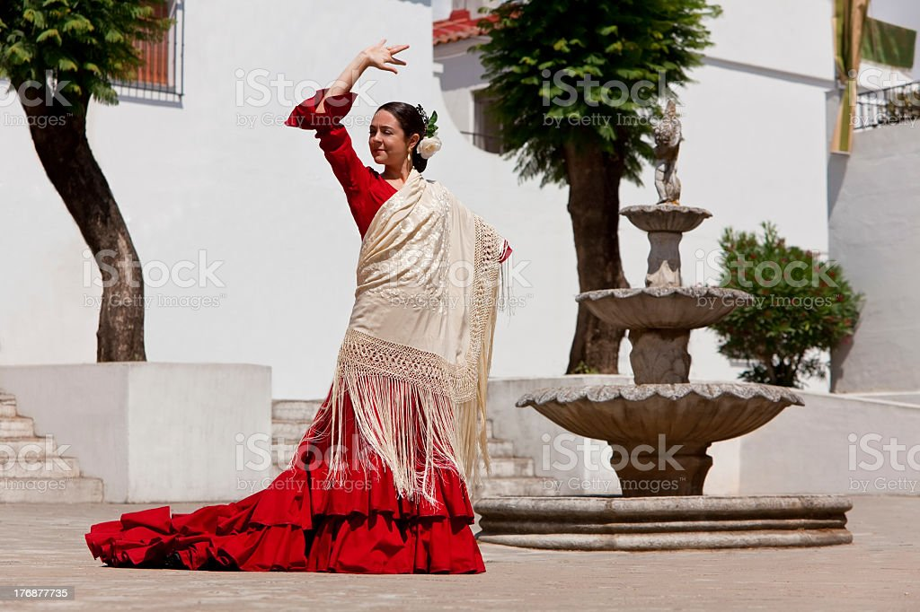 Traditional Woman Spanish Flamenco Dancer In Red Dress stock photo