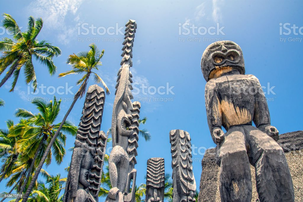 Traditional wood carved statues of the gods stock photo