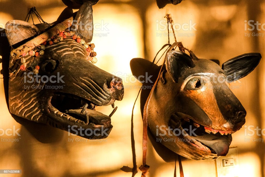 Traditional wooden animal masks stock photo