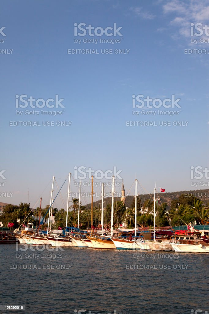 traditional wooden blue voyage boats at bodrum turkey royalty-free stock photo