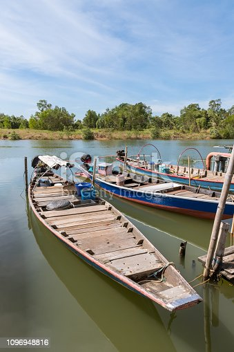 Traditional wooden boat in river at Chanthaburi, Thailand