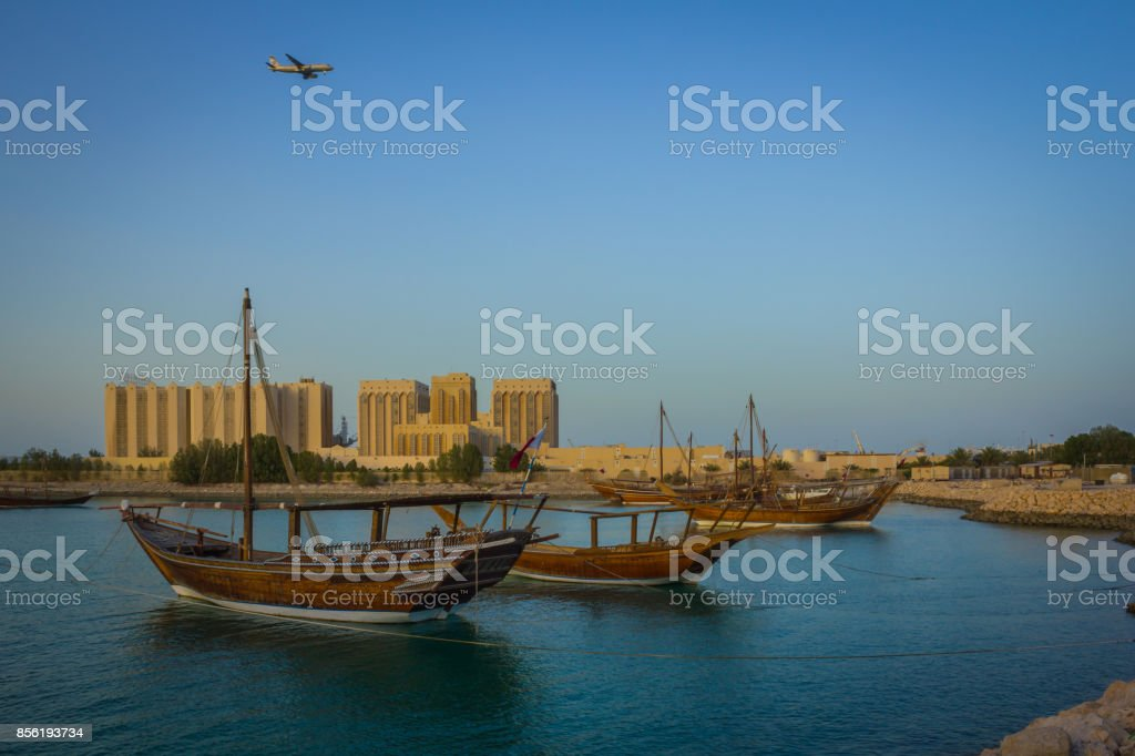 Traditional wooden boats dhow in Qatar stock photo