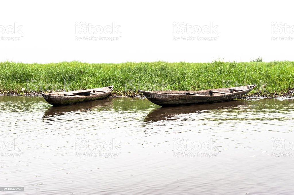 Traditional wooden canoes on the Lake Nokoue, Ganvie,  Benin stock photo