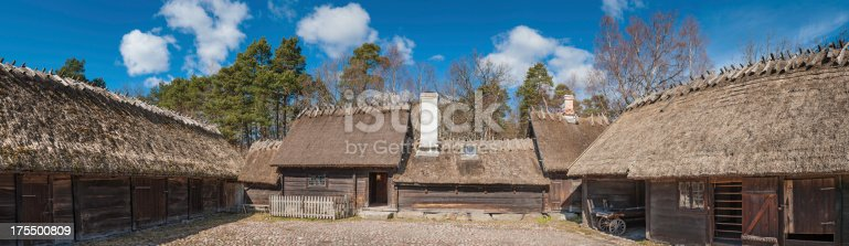 istock Traditional wooden farmhouse barns thatched roof 175500809