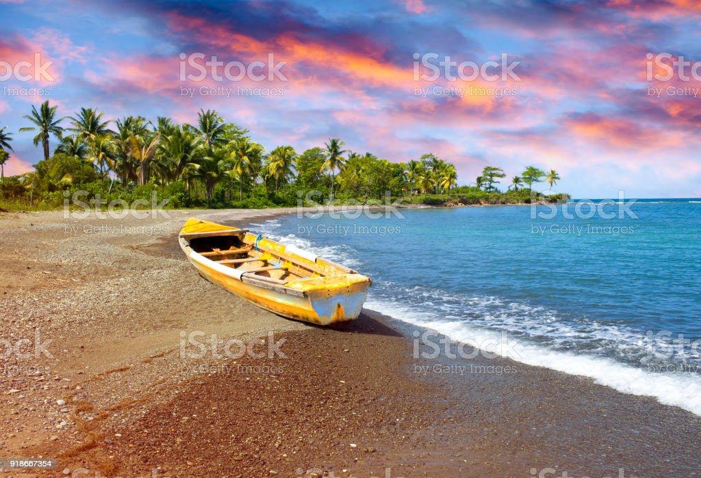 barco de pesca tradicional de madera en la costa del mar de arena con palmeras. Jamaica - foto de stock